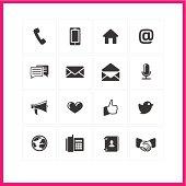 Simple minimalist communication icons