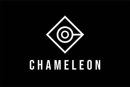 Simple Minimalist Geometric Chameleon Head for Fashion Apparel Logo Design Vector
