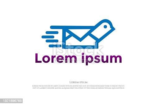 istock Simple Minimalist Pigeon Dove Canary Bird Mail Logo Design Vector 1321896765