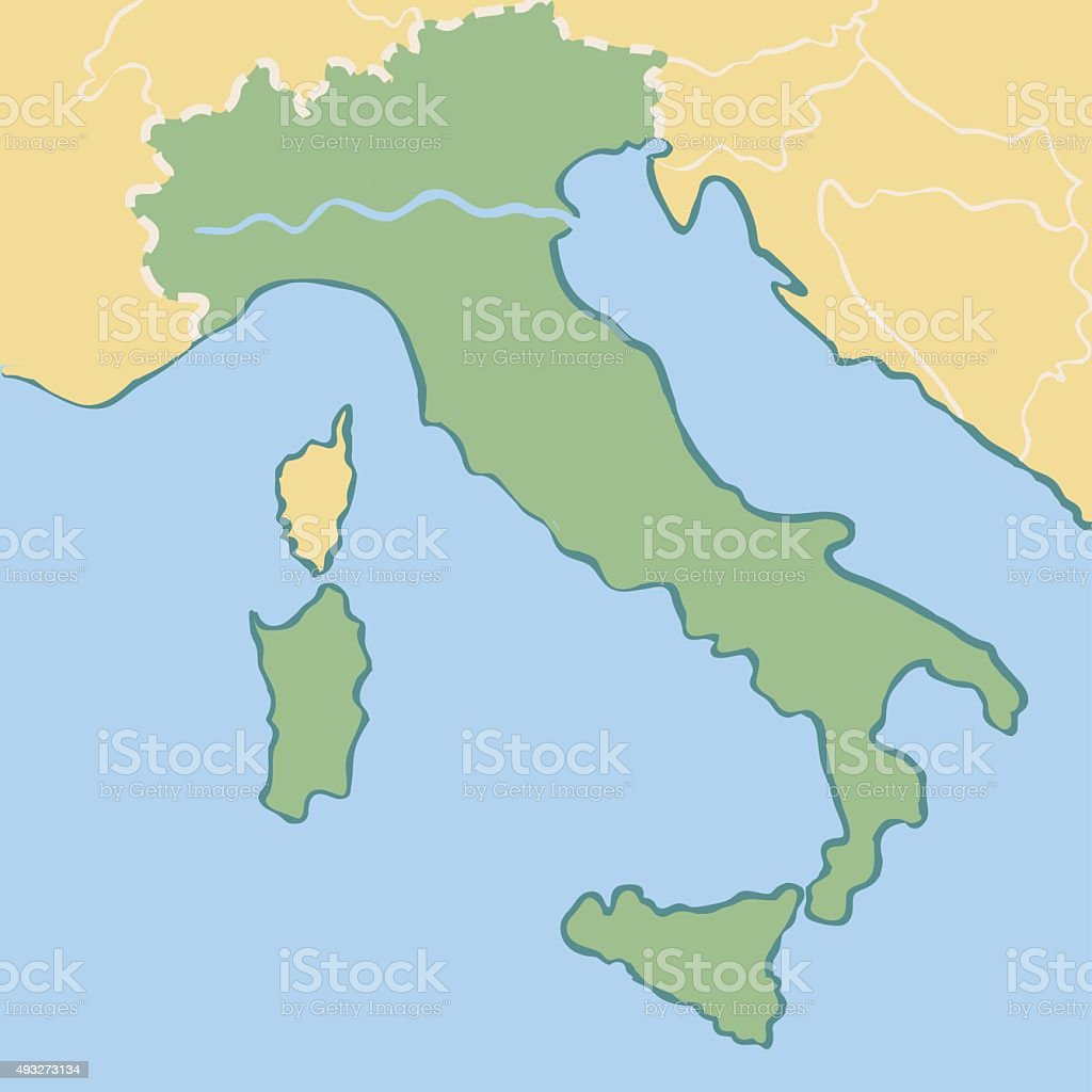 Simple Map Of Italy.Simple Minimalistic Map Of Italy Stock Illustration Download Image