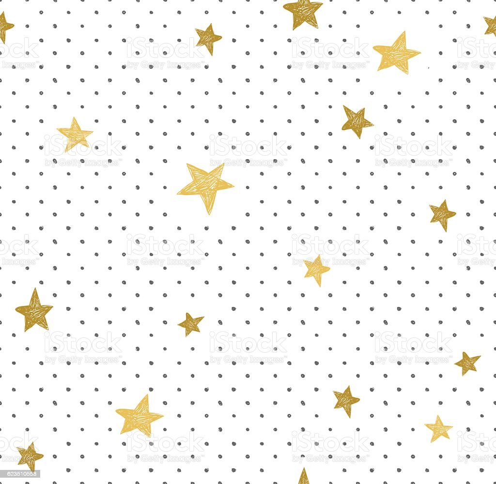 Simple minimalistic  seamless pattern with golden stars and dots. vector art illustration