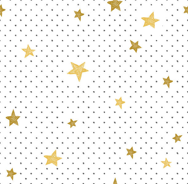 stockillustraties, clipart, cartoons en iconen met simple minimalistic  seamless pattern with golden stars and dots. - portait background