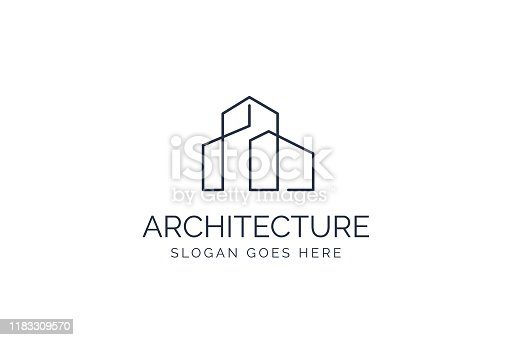 Simple modern building architecture logo design with line art skyscraper graphic
