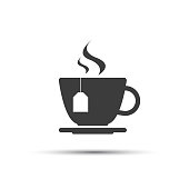Simple modern grey cup of tea vector icon isolated on a white background