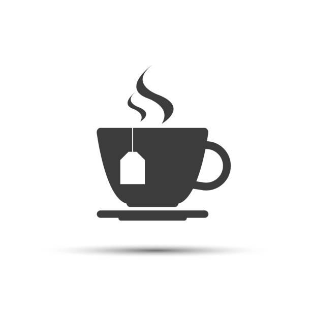 ilustrações de stock, clip art, desenhos animados e ícones de simple modern grey cup of tea vector icon isolated on a white background - chá bebida quente