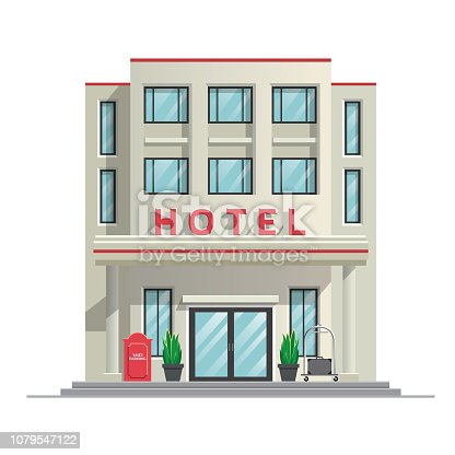 vector of simple modern hotel building