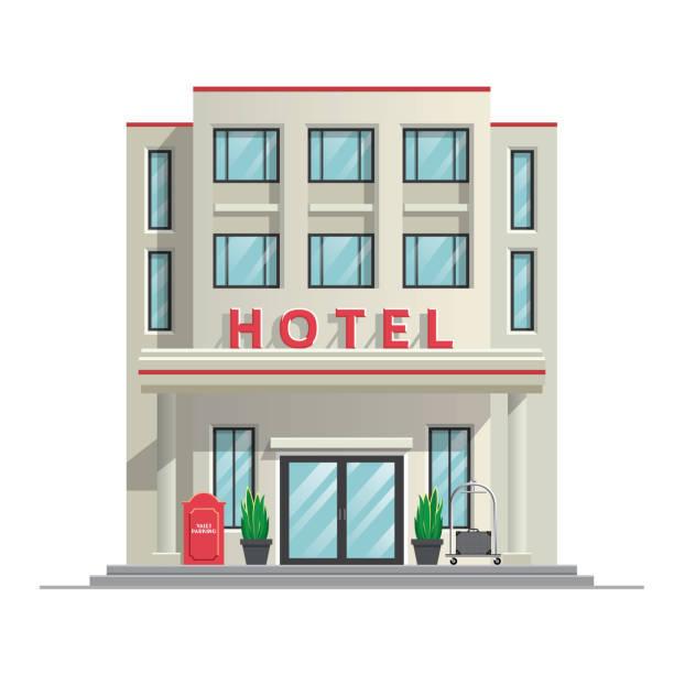 prosty nowoczesny budynek hotelowy - hotel stock illustrations