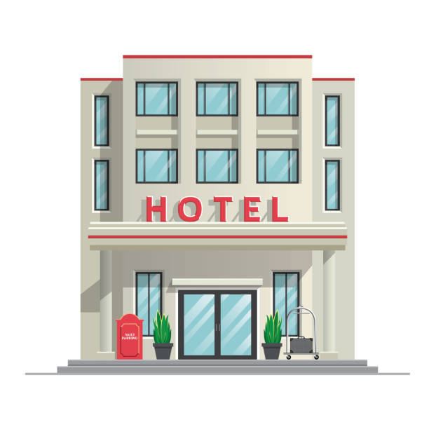 simple modern hotel building vector of simple modern hotel building hotel stock illustrations