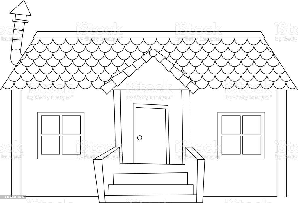Einfache Moderne Haus Gliederung Stock Vektor Art Und Mehr