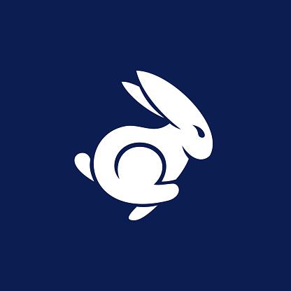 simple modern Rabbit Jump logo design