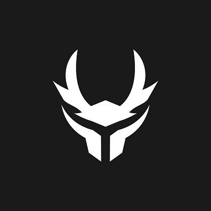 simple modern samurai helmet logo design