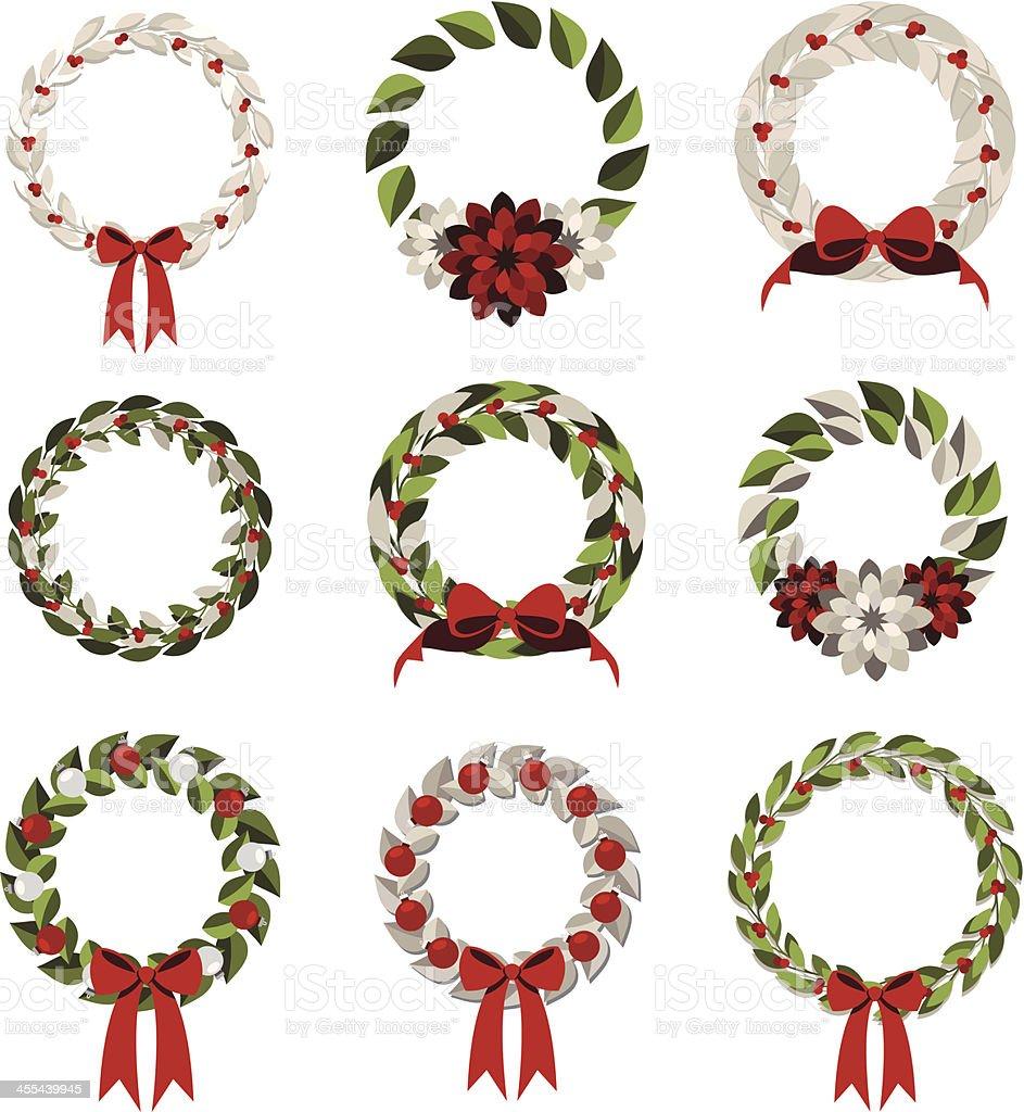 Simple Modern Wreaths vector art illustration