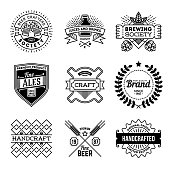 Simple Mono Lines Logos Collection. Beer Handcrafted Brand.