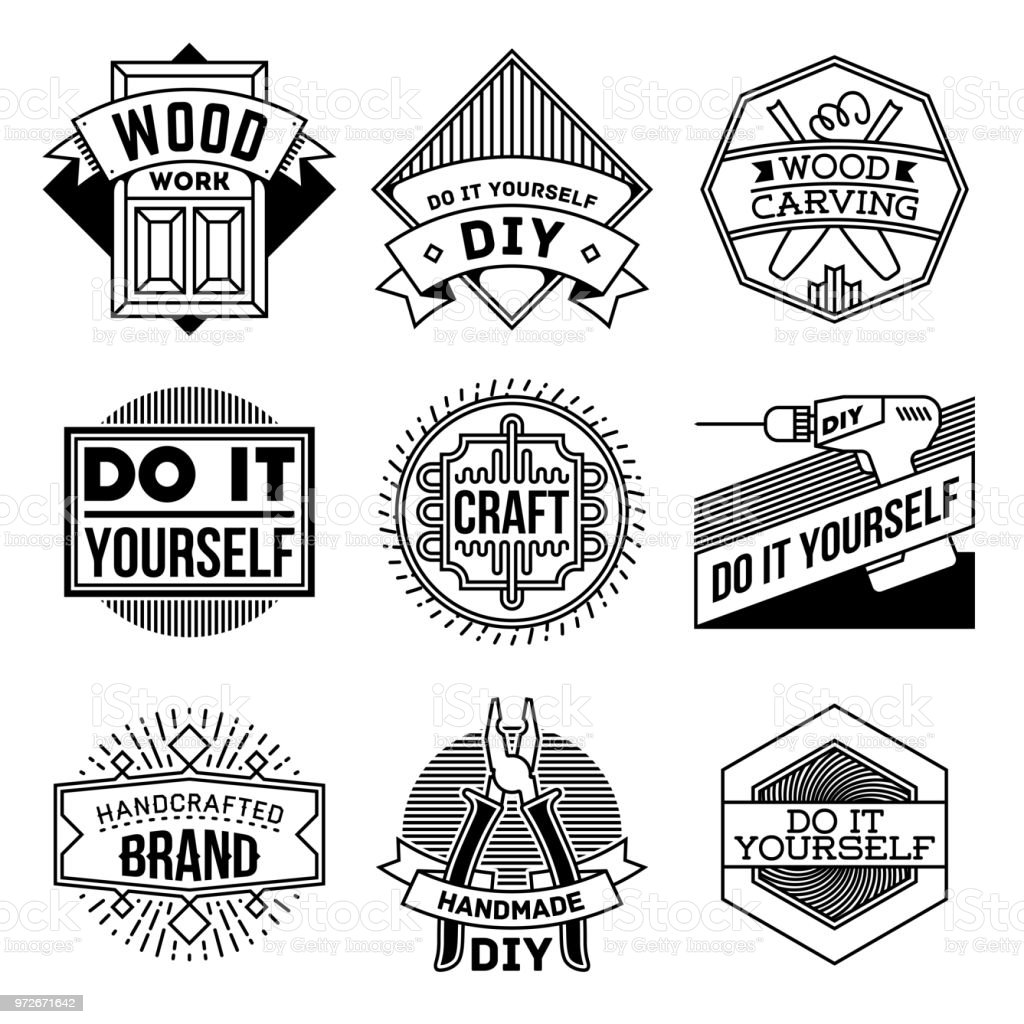 Simple mono lines logos collection do it yourself diy craft stock simple mono lines logos collection do it yourself diy craft royalty free simple solutioingenieria Choice Image