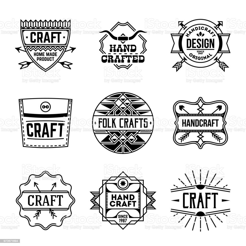 Simple Mono Lines Logos Collection Hand Craft Design Set 3 Stock
