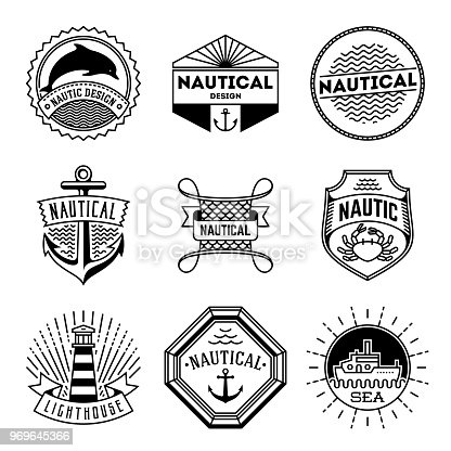 Simple Mono Lines Logos Collection. Nautical Design Brands.