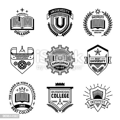 Simple Mono Lines s Collection. College University Institute.