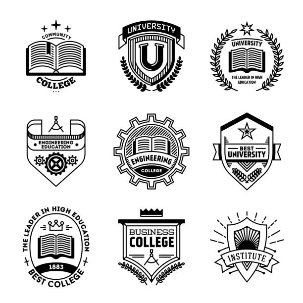 simple mono lines s collection. college university institute. - university stock illustrations, clip art, cartoons, & icons