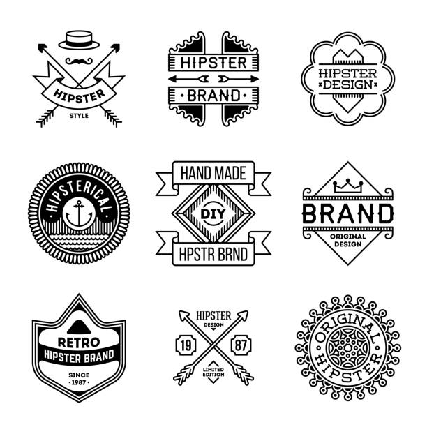 Simple Mono Lines s Collection. Hipster Style Brands. vector art illustration