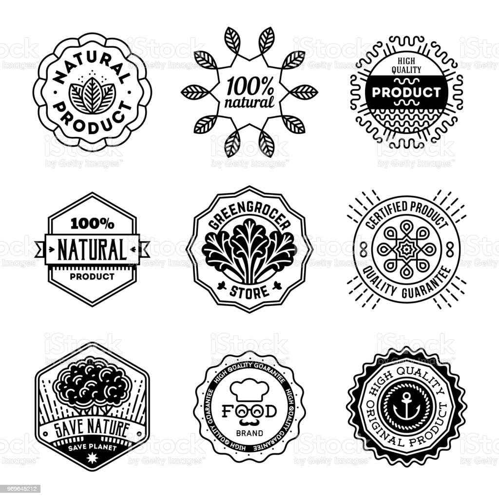Simple Mono Lines s Collection. Natural Organic Product. vector art illustration