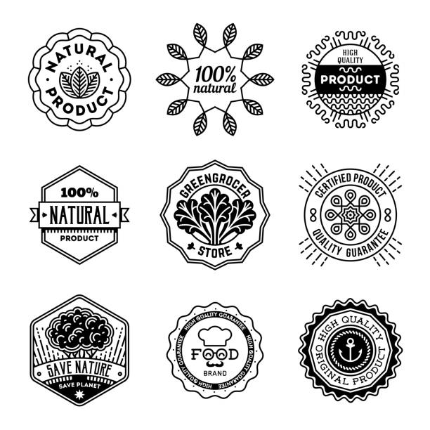 Simple Mono Lines s Collection. Natural Organic Product. Simple Mono Lines s Collection. Natural Organic Product. organic farm stock illustrations