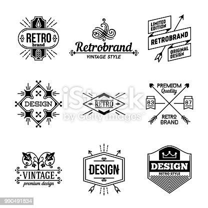 Simple Mono Lines s Collection. Retro Design 4.