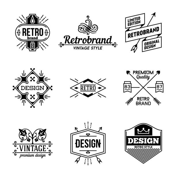 simple mono lines s collection. retro design 4. - restaurant logos stock illustrations, clip art, cartoons, & icons