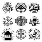 Simple Mono Lines symbols Collection. Home Brew Beer.