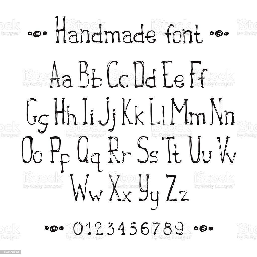 Simple Monochrome Hand Drawn Font Complete Abc Alphabet Set Royalty Free