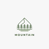 istock simple monoline mountain and forest logo design inspiration 1254035720