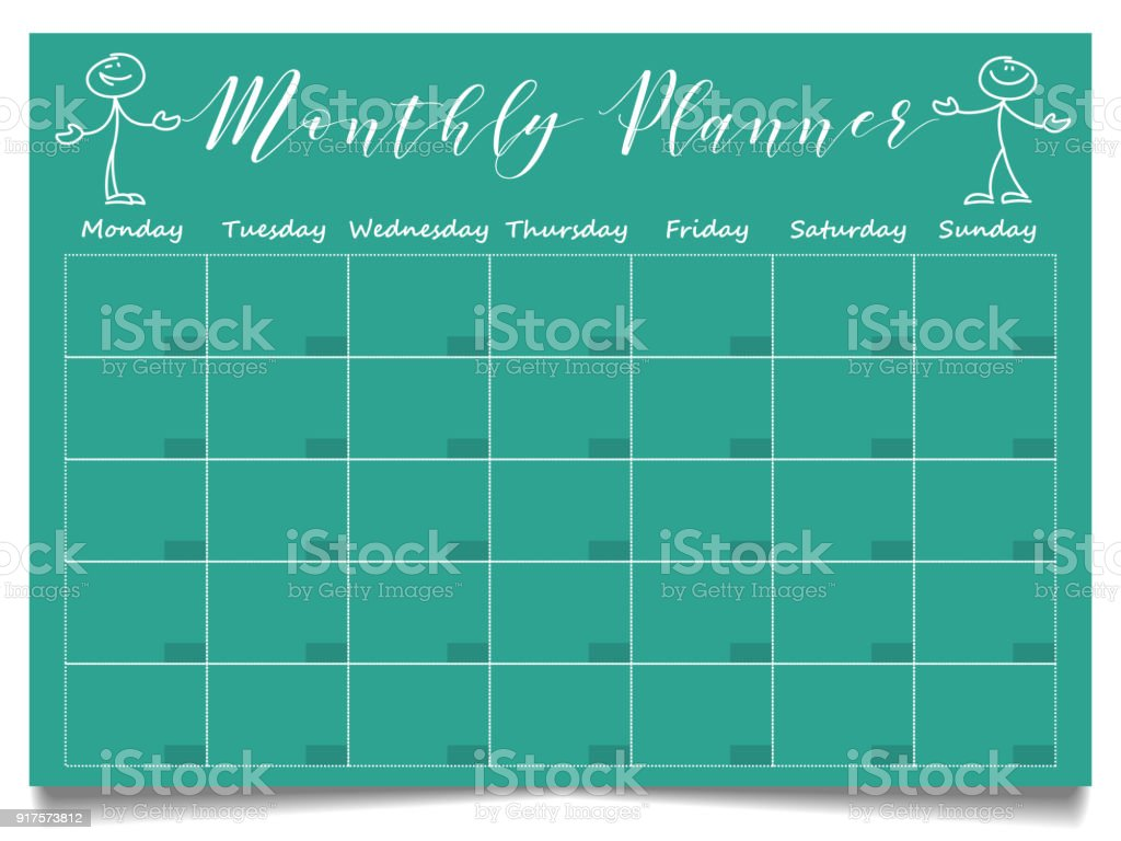 Einfache Monatliche Planervorlage Mit Hand Gezeichnet Positive ...