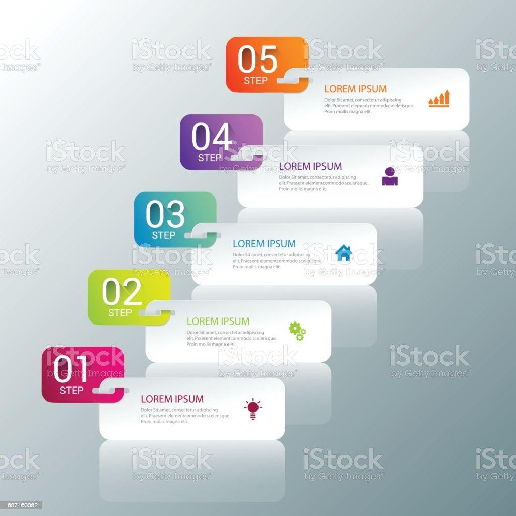 simple multicolor 5 step process steps labels infographics mockup
