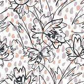Simple nature floral background. Seamless pattern with flowers ans spotted texture. Line art .Contour drawing. Sketch style. Fashion design for your textile and fabric, wrapping, any surface.