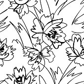 Simple nature floral background. Seamless pattern with hand drawn flowers isolated on white. Line art .Contour drawing. Sketch style. Fashion design for your textile and fabric, wrapping, any surface.