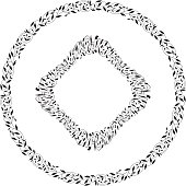 Vector Illustration of a black and white Simple Nature Wreath.