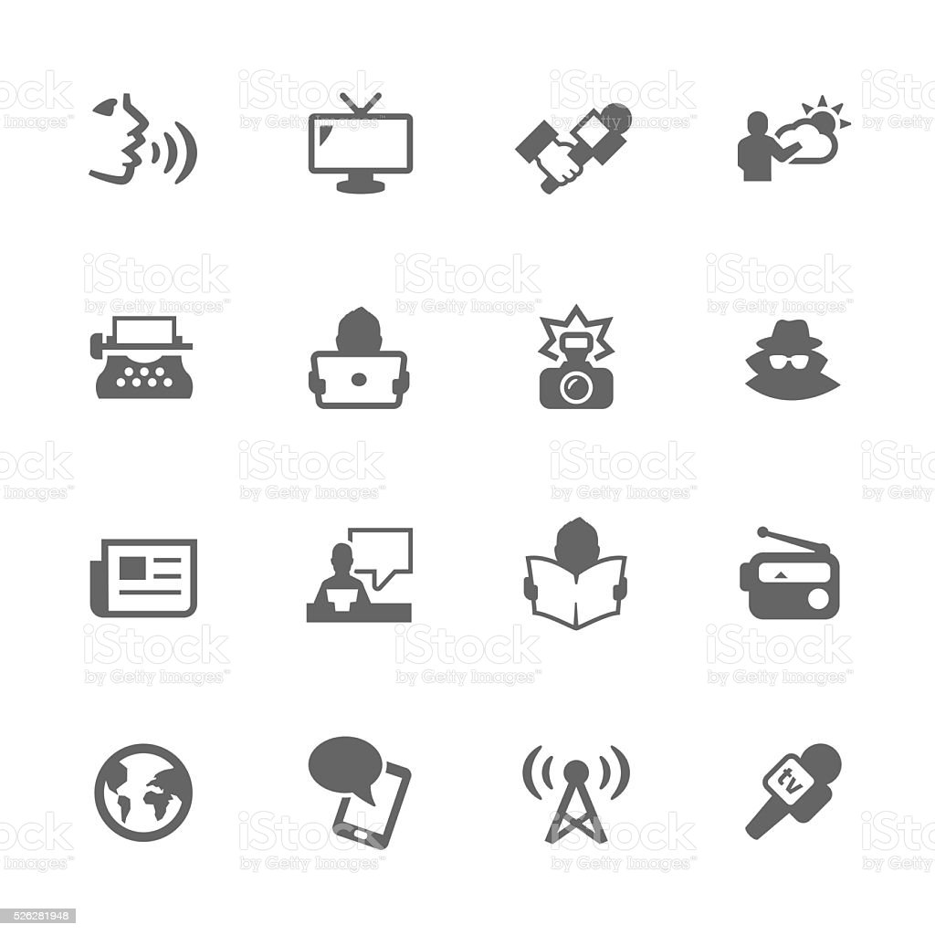 Simple News Icons vector art illustration