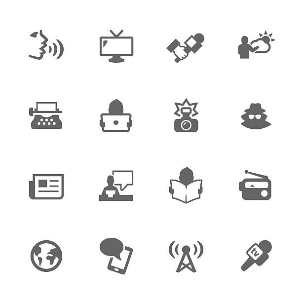 ilustrações de stock, clip art, desenhos animados e ícones de ícones simples de notícias - video call