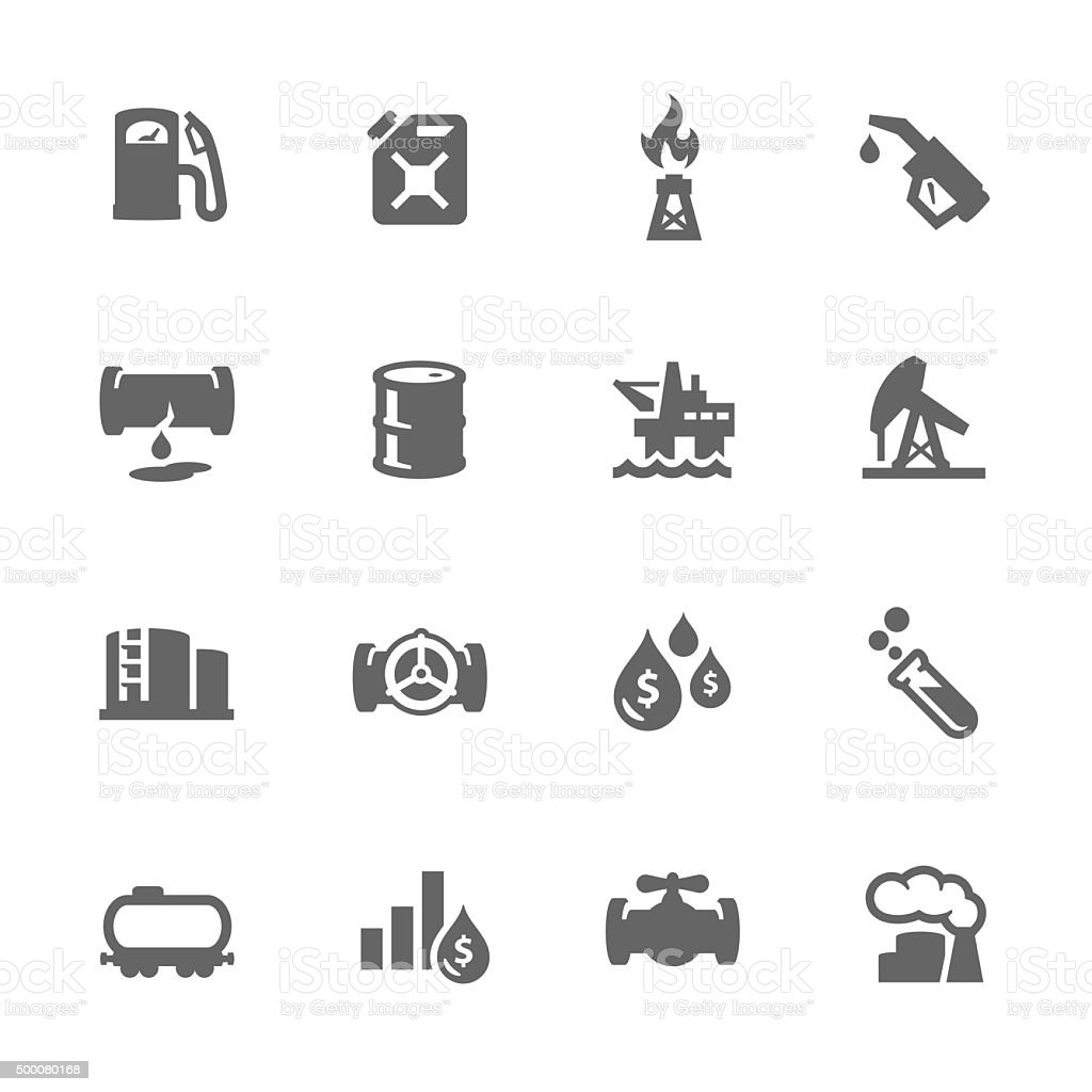 Simple Oil Icons vector art illustration