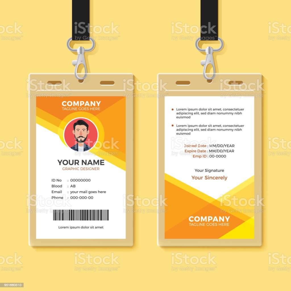 Simple Orange Graphic Id Card Design Template Stock Vector Art ...