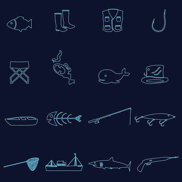 einfache konturen fischen icons set eps10 - haifischköder stock-grafiken, -clipart, -cartoons und -symbole