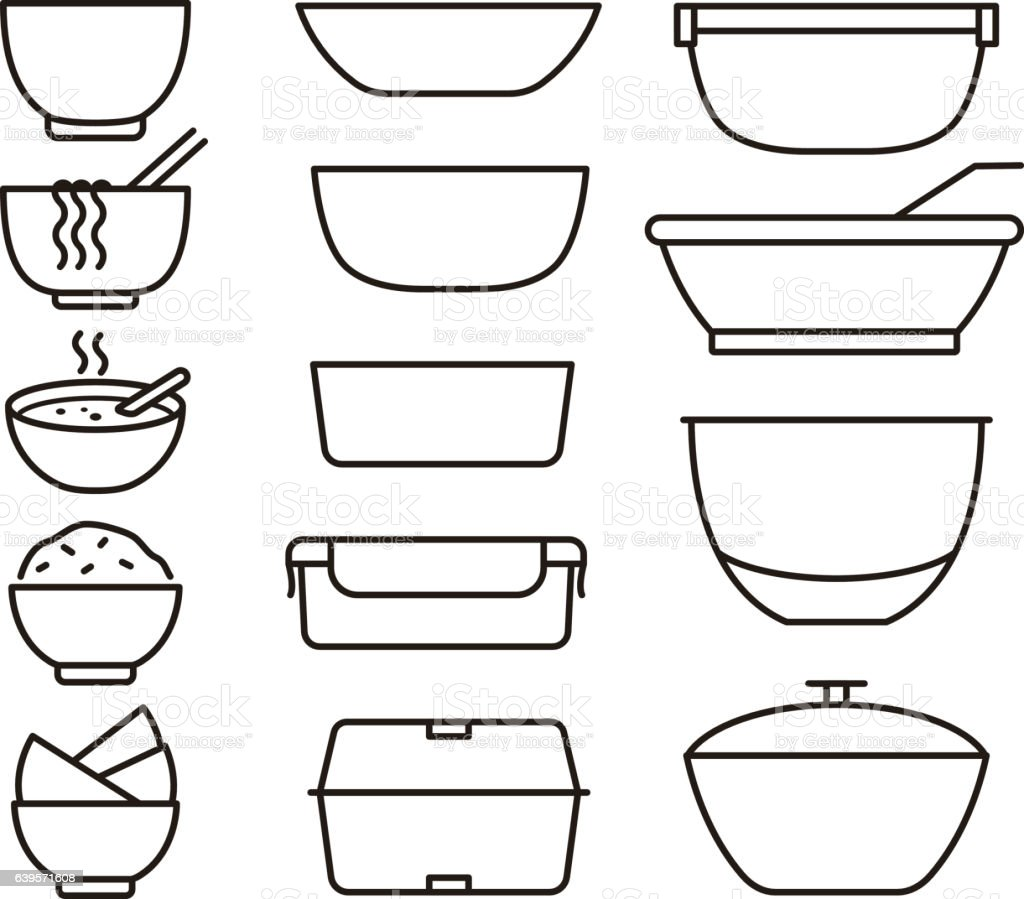 simple outline bowls and plates icon set, vector illustration vector art illustration
