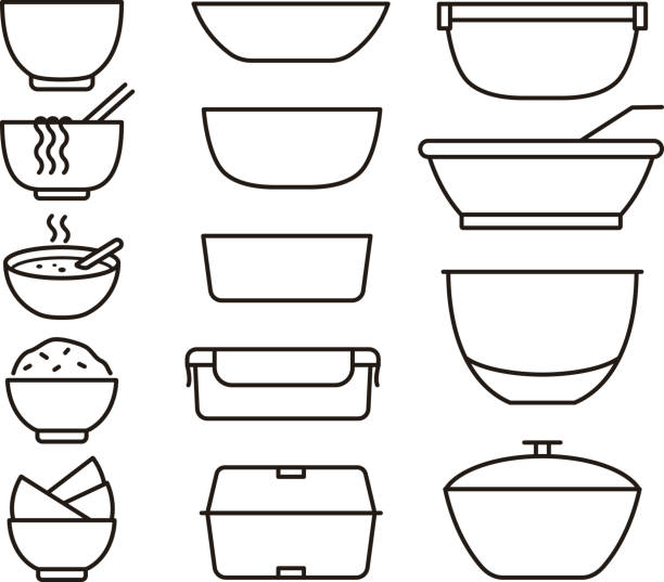 simple outline bowls and plates icon set, vector illustration - lunch box stock illustrations, clip art, cartoons, & icons