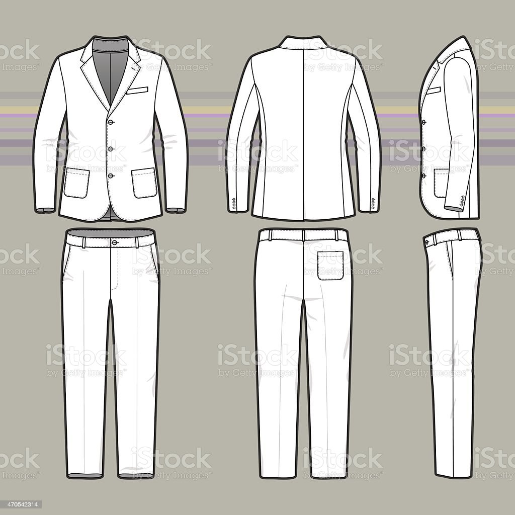 simple outline drawing of a blazer and pants stock vector