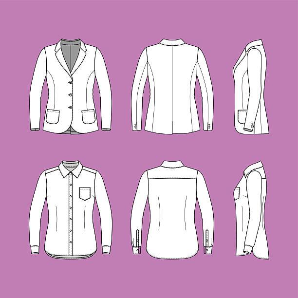 stockillustraties, clipart, cartoons en iconen met simple outline drawing of a long sleeves shirt and blazer - men blazer
