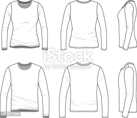 Simple Outline Drawing Of A Mens And Womens Blank Tee