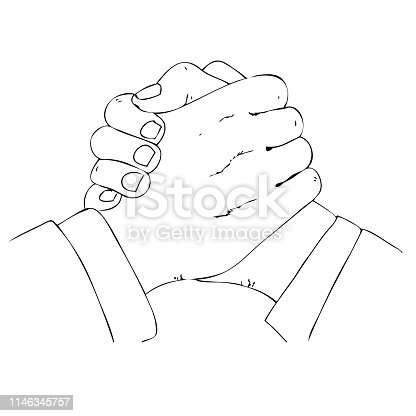 istock Simple Outline Manual Draw 2 businessman Hand making, Sporty Style isolated on white 1146345757