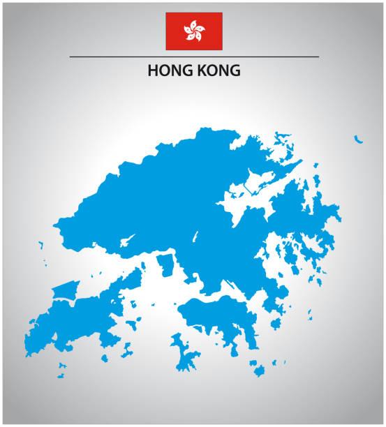 illustrazioni stock, clip art, cartoni animati e icone di tendenza di simple outline map of hong kong with flag - hong kong