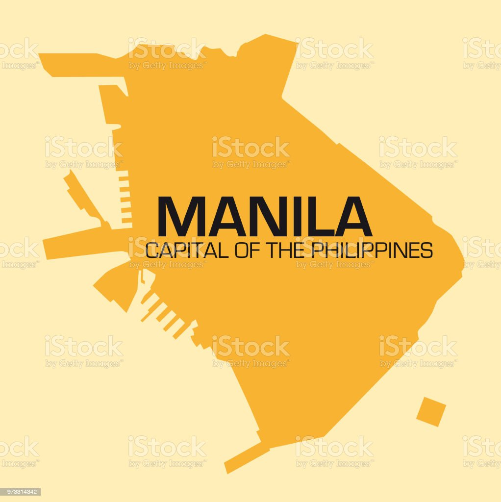 simple outline map of Philippines capital, Manila vector art illustration