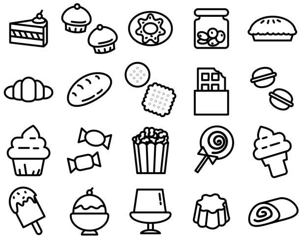 einfache gliederung der verschiedenen dessert symbol auf weißem hintergrund - wackelpuddingkekse stock-grafiken, -clipart, -cartoons und -symbole