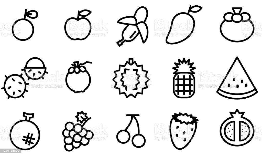 白い背景にさまざまな果物のアイコンの簡単な概要 アイコンセットの